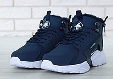 Мужские зимние кроссовки с мехом в стиле Nike Huarache Acronym Concept Blue синие, фото 3