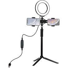 """Лампа кольцевая LED USB Puluz PKT3038 6.2"""" + штатив удлинитель (PKT3038) Black"""