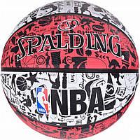 Мяч баскетбольный Spalding NBA Graffiti Outdoor White/Red Size 7, фото 1