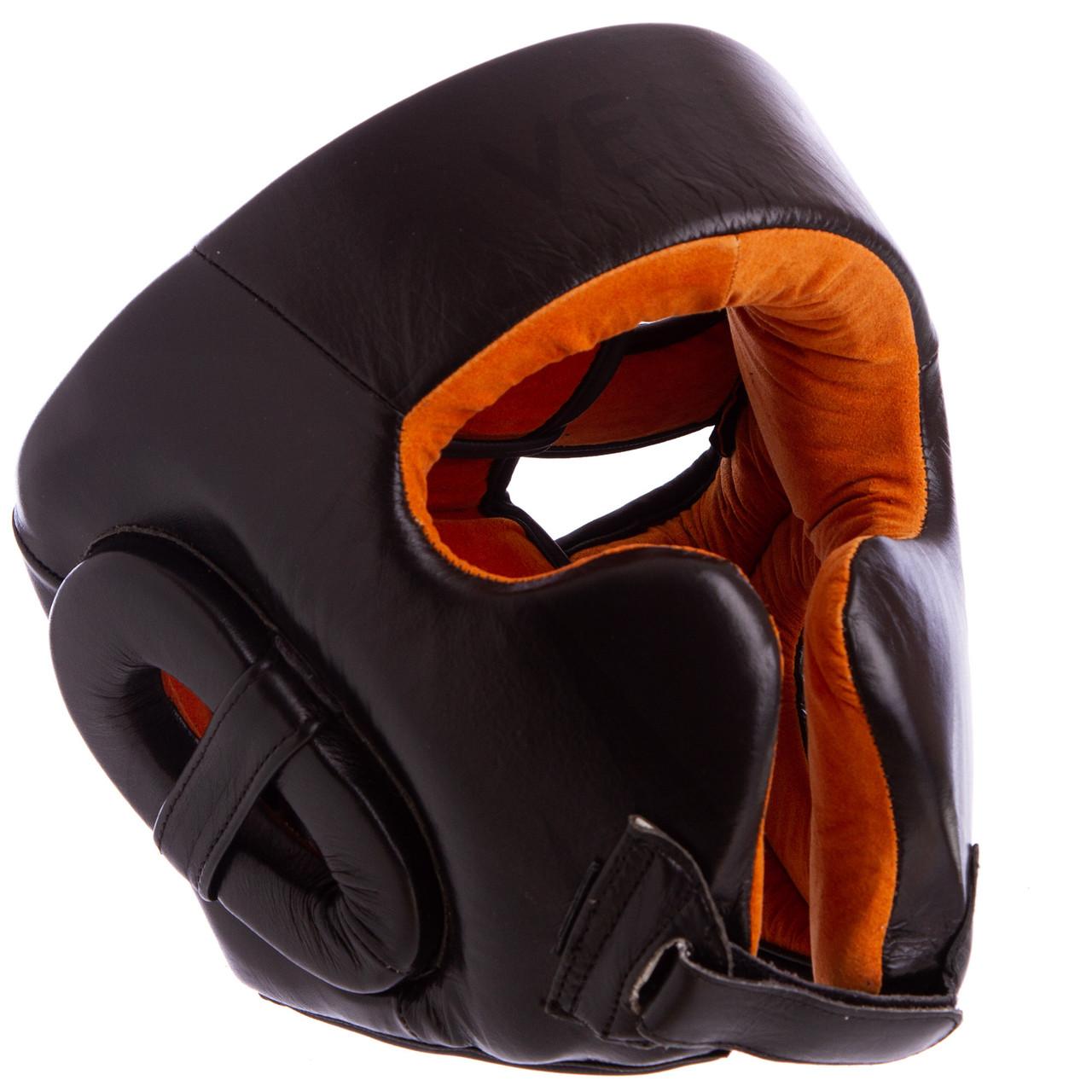 Шлем боксерский кожаный черный VENUM BO-6652
