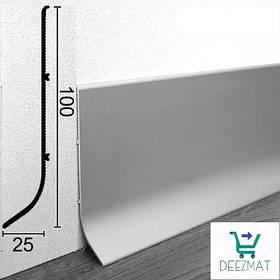Плинтус алюминиевый анодированный для пола 100х25х3000мм. Высокий плинтус