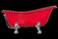Ванна отдельно стоящая OTYLIA Отилья 160х77х70 см BESCO PMD AMBITION на львиных лапах красная, чёрная