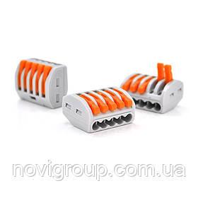 Клема з нажимними затискачами 5-дротова WAGO K222-415 для розподільних коробок, 5-pin, сіро-помаранчева