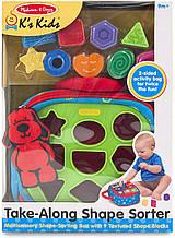 Развивающая игрушка 2в1 Сортер, 9 предметов и панель для развития Melissa & Doug Take-Along Shape Sorter
