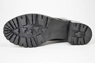 Ботинки лаковые на каблуке Evromoda 2621 черные кожа, фото 3