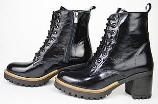Ботинки лаковые на каблуке Evromoda 2621 черные кожа, фото 2