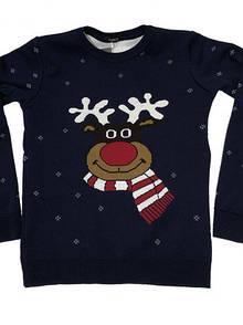 Детский новогодний свитер для мальчиков с оленем - 3-4, 5-6, 6-7, 7-8, 9-10 лет - 70 % шерсти!