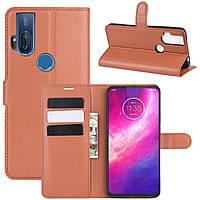 Чехол-книжка Litchie Wallet для Motorola One Hyper Brown