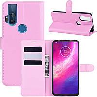 Чехол-книжка Litchie Wallet для Motorola One Hyper Pink