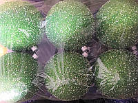 Елочные Шары с Блестками и Пенопластом Однотонные 8 см Новогодние Шары на Елку Цвета в Ассортименте 6 шт в, фото 1