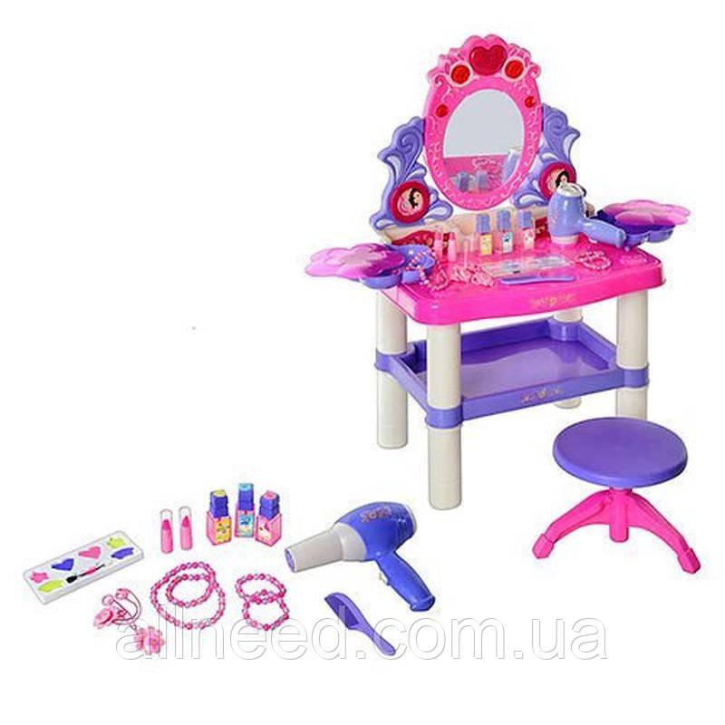 Детское трюмо для девочки с косметикой, феном