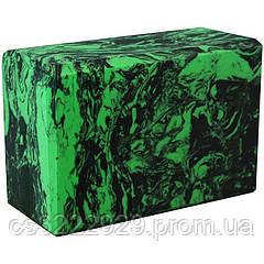 Блок для йоги C332 (Зелёный с узором)