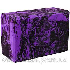 Блок для йоги C332 (Фиолетовый с узором)