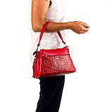 Женская сумка Karya 2134-018 кожаная красная, фото 8