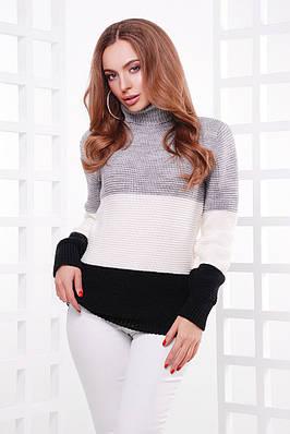 Стильний триколірний светр