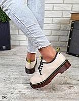 Стильные женские туфли из эко-кожи бежевого цвета
