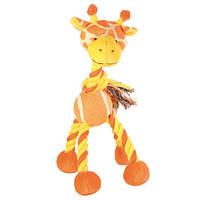 Trixie (Трикси) Assortment Animals with Tennis Ball and Rope Мягкая игрушка для собак Звери мяч жираф корова 4