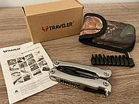 Мультитул (плоскогубцы, отвертка, кусачки, нож складной, открывалка, пилочка) мультиинструмент TRAVELER в