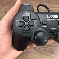 Проводной USB игровой джойстик для ПК Double Shock 2 геймпад юсб дуалшок dualshock на компьютер компьютера, фото 2