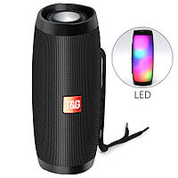 Портативная акустическая колонка T&G с LED-подсветкой и шнурком для переноски Bluetooth 10Вт Черная