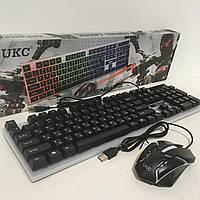 Комплект UKC клавиатура и мышь с LED подсветкой 104 клавиши 44см Чёрный (K01-5559)