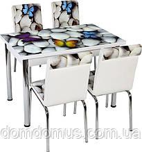 """Комплект обідній меблів """"Метелики"""" (стіл ДСП, гартоване скло + 4 стільця) Лідер, Туреччина"""