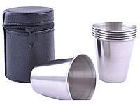 Походные рюмки из нержавеющей стали в чехле (6шт,70мл)