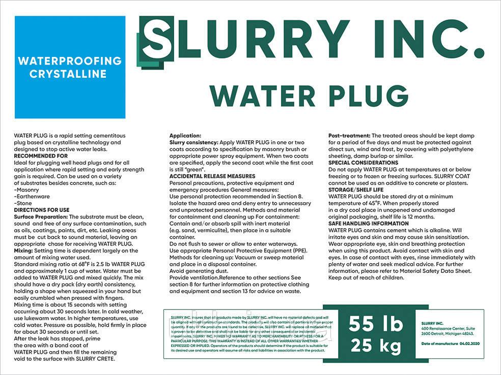 SLURRY WATER PLUG