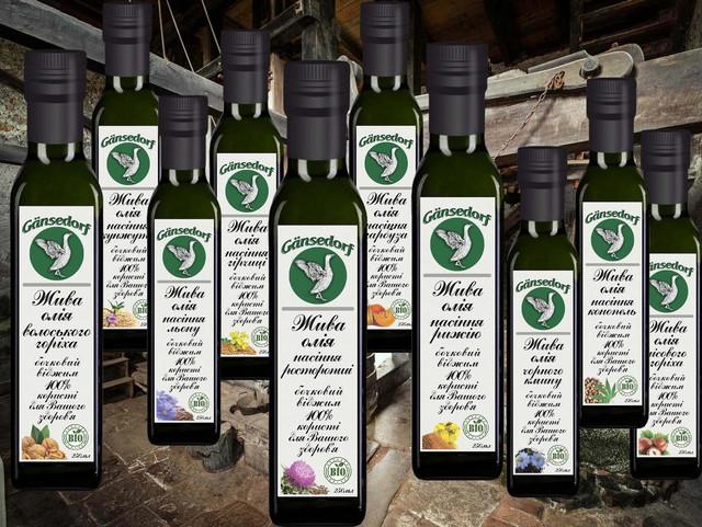 Живое растительное масло первого холодного бочкового отжима Gansedorf