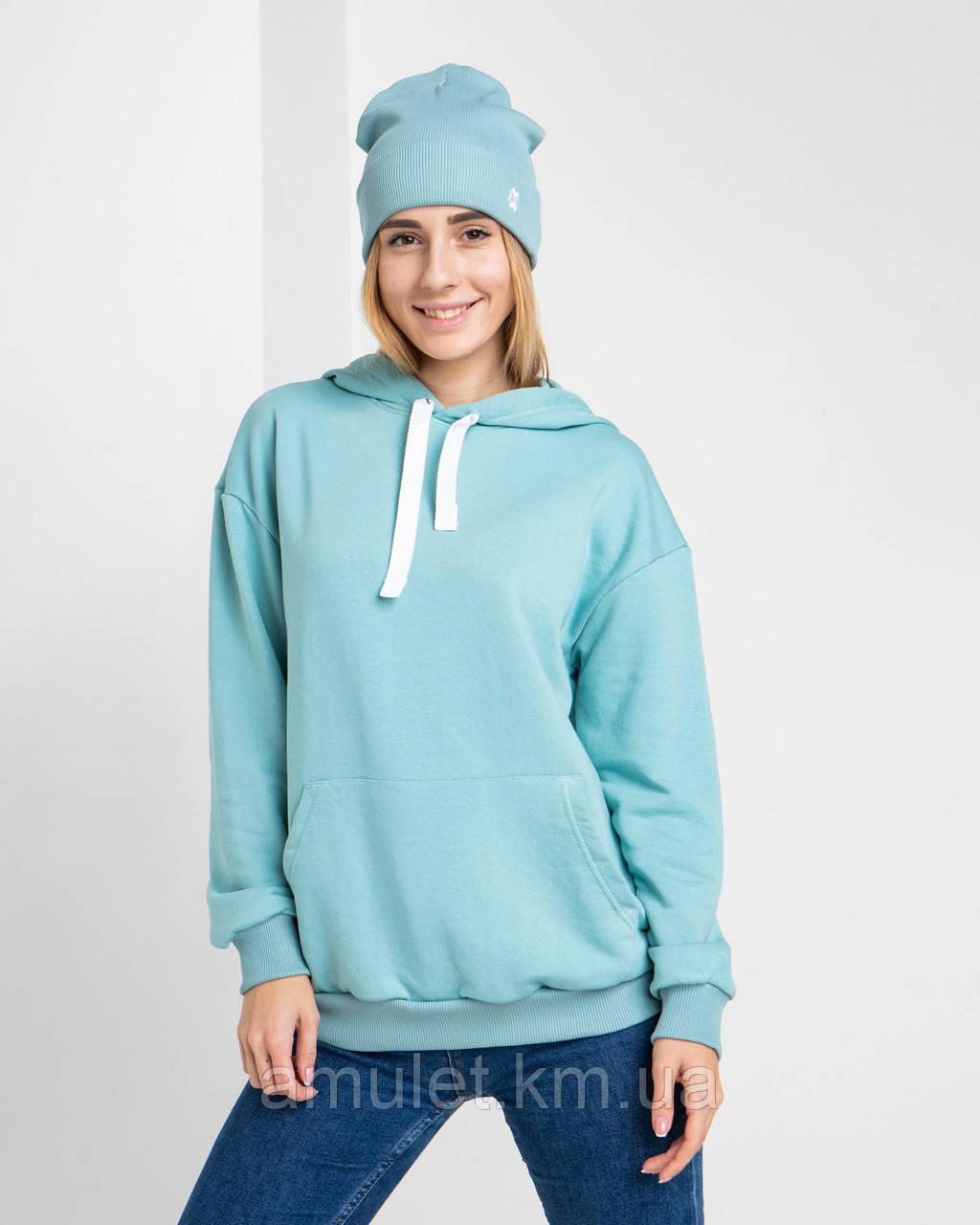 Худі UNISEX (для жінок і чоловіків). Бірюзовий колір. Розмір XS.