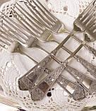 Набор десертных вилочек с розочкой, серебрение, мельхиор, Германия, ANTIKO 100, фото 2