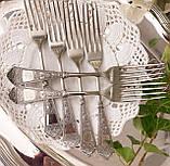 Набор десертных вилочек с розочкой, серебрение, мельхиор, Германия, ANTIKO 100, фото 3