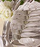 Набор десертных вилочек с розочкой, серебрение, мельхиор, Германия, ANTIKO 100, фото 5