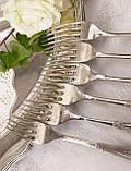Набор десертных вилочек с розочкой, серебрение, мельхиор, Германия, ANTIKO 100, фото 9