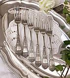 Набор десертных вилочек с розочкой, серебрение, мельхиор, Германия, ANTIKO 100, фото 4