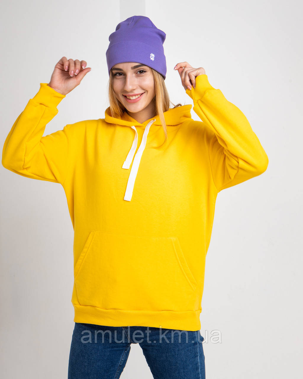 Худі UNISEX (для жінок і чоловіків). Жовтий колір. Розмір XS.