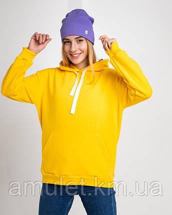 Худі UNISEX (для жінок і чоловіків). Жовтий колір. Розмір XS., фото 2