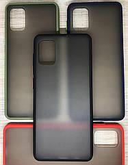 Samsung A31 2020 (A315F) чехол противоударный бампер накладка цветная окантовка черный синий хаки красный