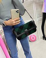 Женская зеленая большая сумка-клатч 62803 через плечо сумочка кросс-боди, фото 1