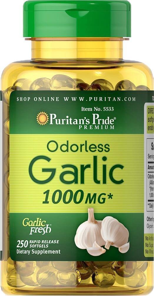 Puritan's Pride Garlic 1000mg, Чеснок (250 капс.)