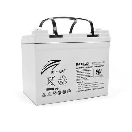 Аккумуляторная батарея AGM Ritar RA12-33 12V 33Ah для систем автономного электропитания, фото 2
