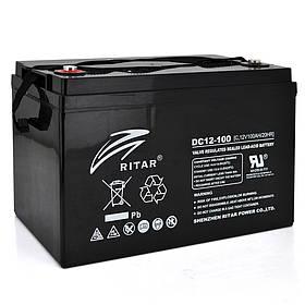 Акумуляторна батарея CARBON RITAR DC12-100C, Black Case, 12V 100.0Ah, 2000-5000 циклів, до 15 років термін