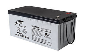 Акумуляторна батарея CARBON RITAR DC12-200C, Black Case, 12V 200.0Ah, 2000-5000 циклів, до 15 років термін