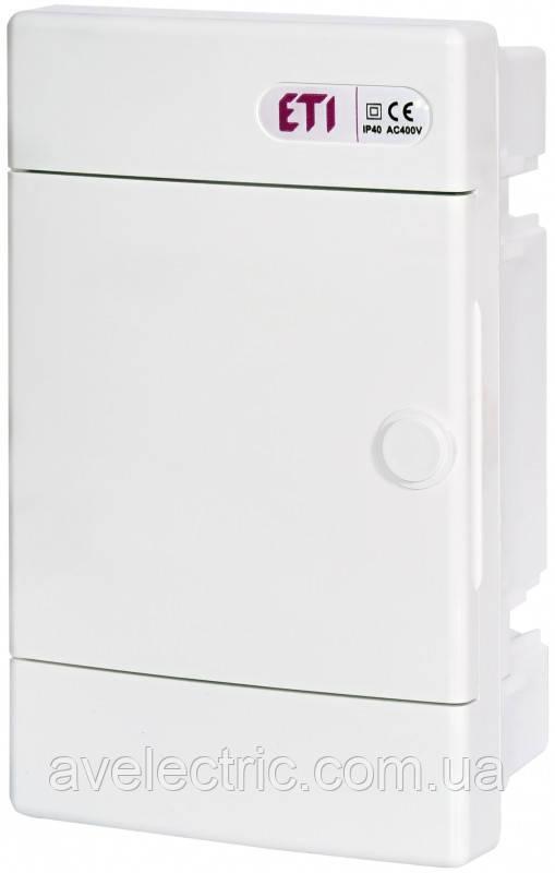 Щит встраиваемый распределительный ECM 4 PO (4мод.белая дверь) IP40, ETI, 1100143