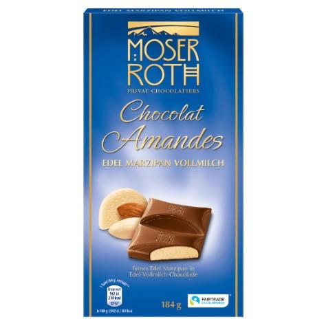 Шоколад молочный Moser Roth Chocolat Amandes с марципаном 184 г Германия
