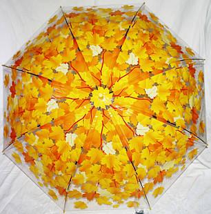 Зонт-трость женский серия осень желтые листья прозрачный клеенка, фото 2