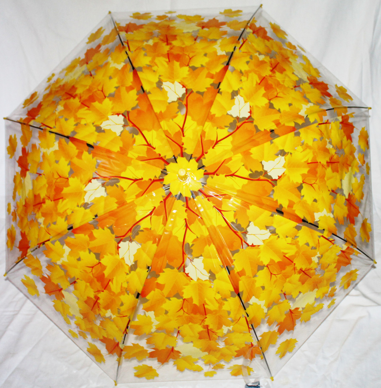 Зонт-трость женский серия осень желтые листья прозрачный клеенка