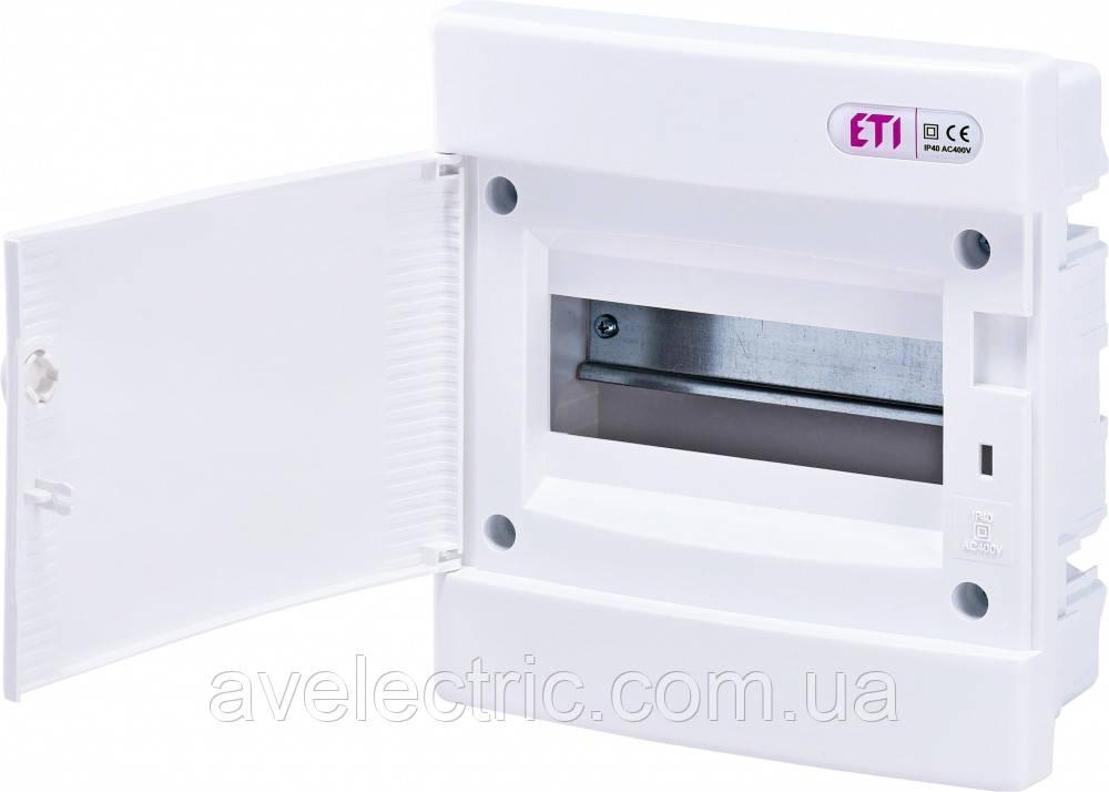 Щит встраиваемый распределительный ECМ 8PO (8мод.белая дверь) IP40, ETI, 1101014