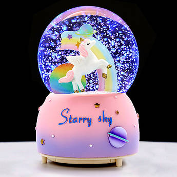 Музыкальный шар со снегом Unicorn Dream, снежный шар, ночник пони
