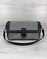 Черно-белая женская сумка-клатч через плечо молодежная большая кросс-боди 62801, фото 1